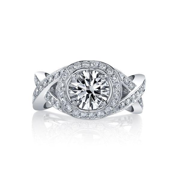 14kt White Gold Entwining Halo Engagement Ring