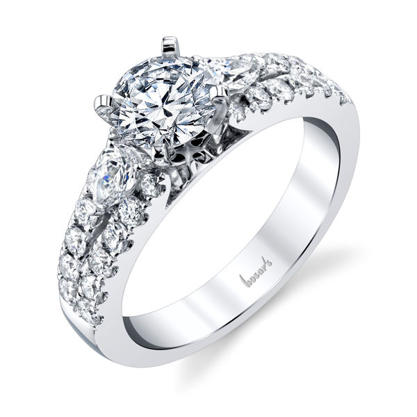14kt White Gold Pear Shaped Accent Diamond Engagement Ring