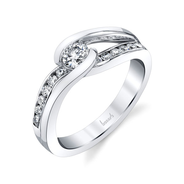 14kt White Gold Bypass Style Channel Engagement Ring