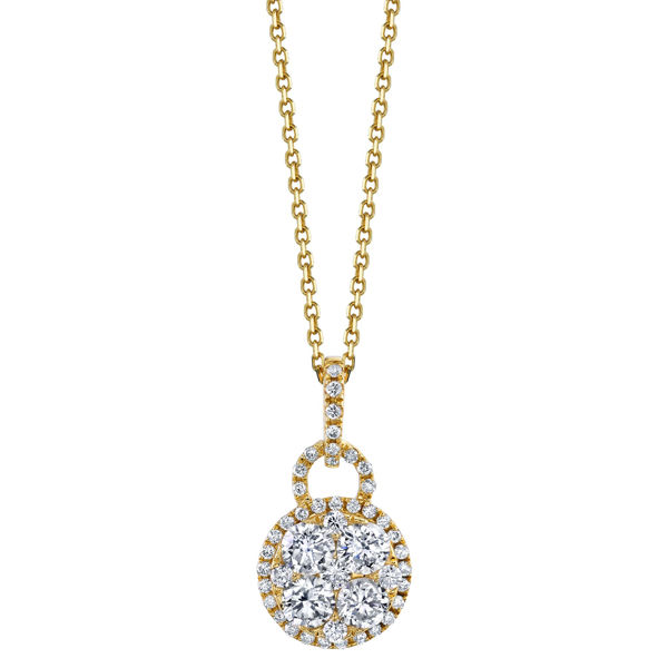 18kt Yellow Gold Diamond Cluster Necklace
