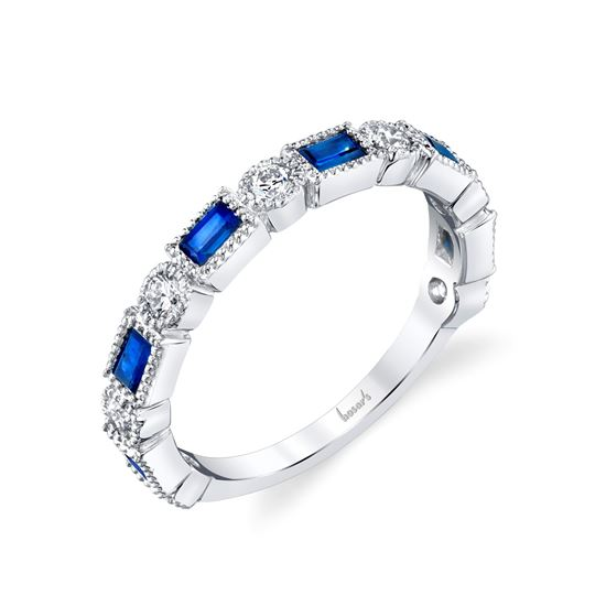 14kt White Gold Diamond and Sapphire Round and Baguette Milgrained Band