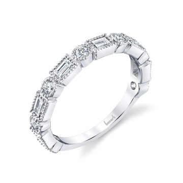 14kt White Gold Round and Baguette Milgrained Diamond Band