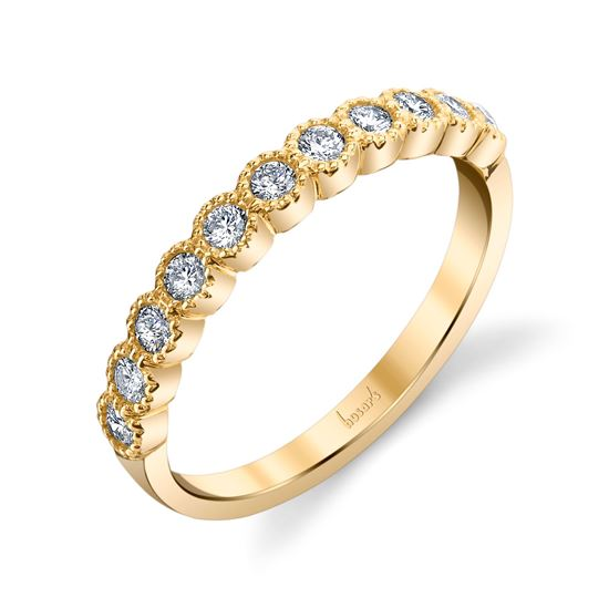 14kt Yellow Gold Milgrained Bezel Set Diamond Band