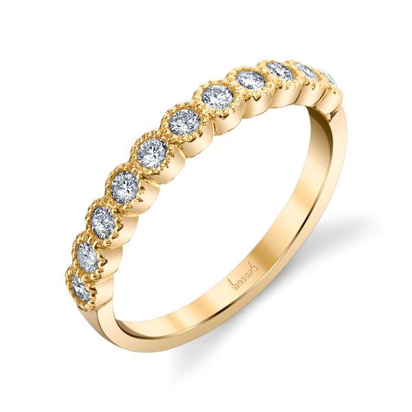 14kt Yellow Gold Milgrained Bezel Set Diamond Band