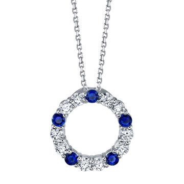 14kt White Gold Blue Sapphire and Diamond Circle Pendant