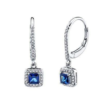 14kt White Gold Natural Sapphire and Diamond Halo Drop Dangle Earrings