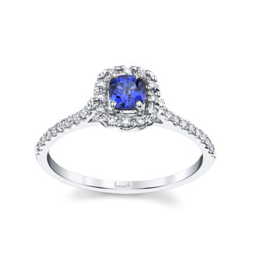 14kt White Gold Natural Sapphire and Diamond Halo Ring