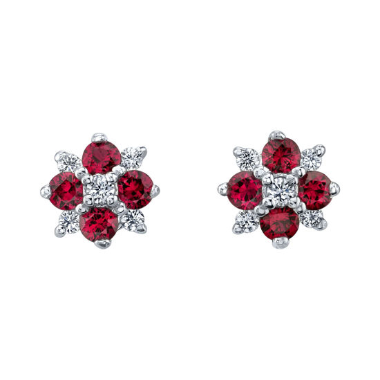 14kt Genuine Ruby and Diamond Cluster Stud Earrings