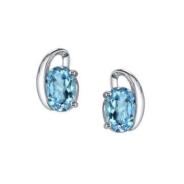Picture of 14Kt White Gold Swirl Design Oval Blue Topaz Stud Earrings