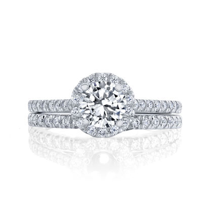 14kt White Gold Classic Halo Engagement Ring