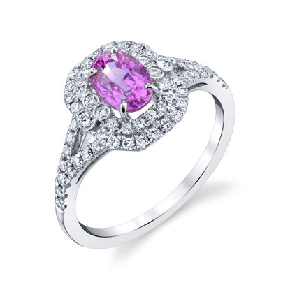 14kt White Gold Natural Pink Sapphire Double Halo Ring