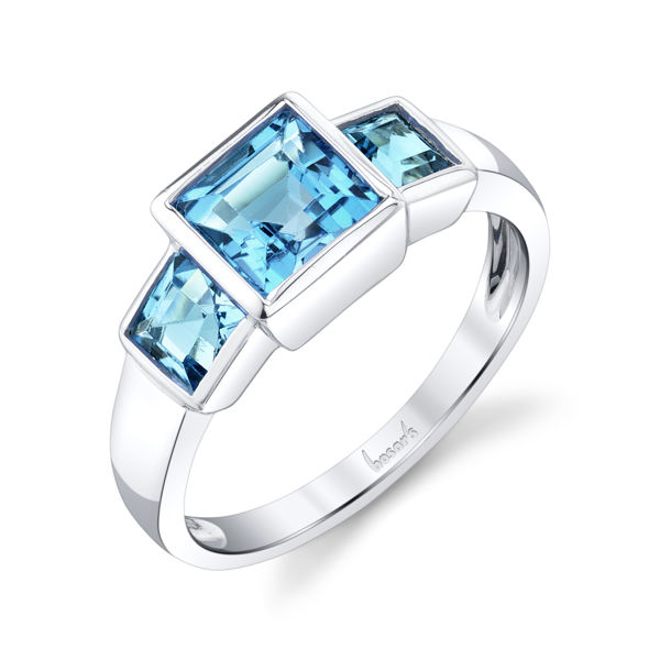 14kt White Gold Princess Cut Blue Topaz Bezel Set Three Stone Ring
