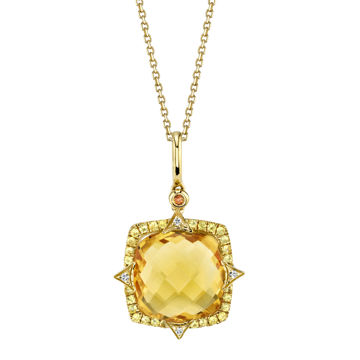14kt Yellow Gold Citrine and Yellow Sapphire Halo Pendant