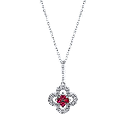 14kt White Gold Distinct Natural Ruby and Diamond Pendant