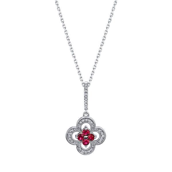 14kt White Gold Distinct Natural Ruby and Diamond Pendant