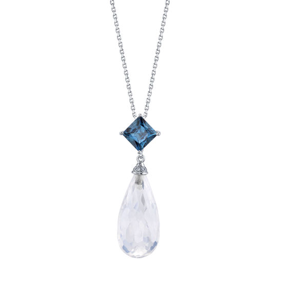 14kt White Gold London Blue Topaz and Moonstone Pendant