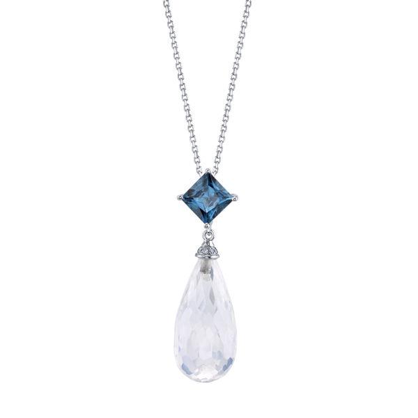 14kt White Gold London Blue Topaz and Moonstone Pendant