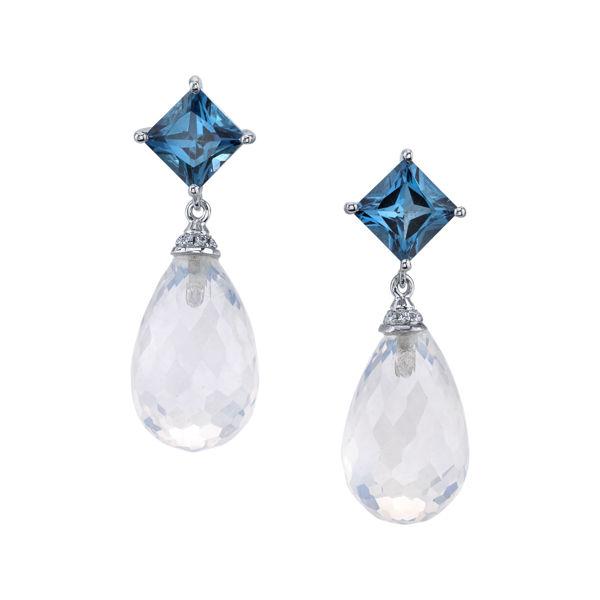 14kt White Gold London Blue Topaz and Moonstone Dangle Earrings