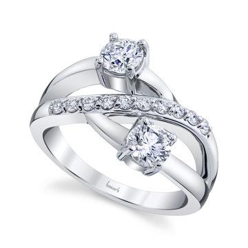 14kt White Gold Elegant Two Stone Diamond Ring