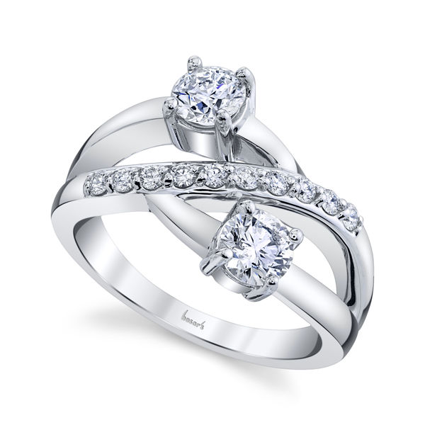 14kt White Gold Elegant Two Stone Diamond Ring