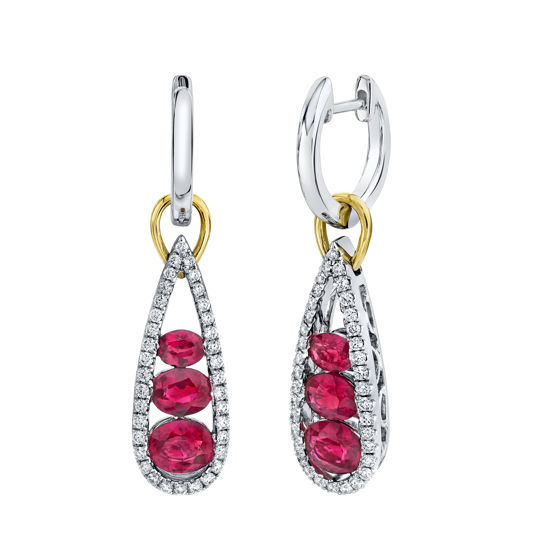 18kt White and Yellow Gold Natural Ruby and Diamond Drop Earrings
