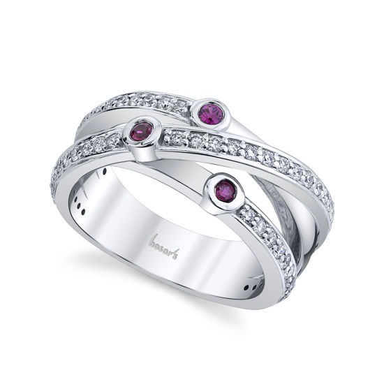 14kt White Gold Cross Over Ruby and Diamond Ring