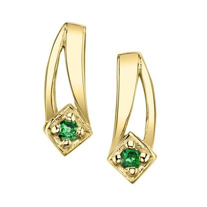 14kt Yellow Gold Double Swoosh Emerald Earrings