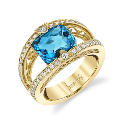 14kt Yellow Gold Glittering London Blue Topaz and Diamond Ring