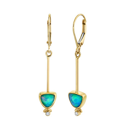 14kt/22kt Yellow Gold One of a Kind Ethiopian Opal Triangular Dangle Earrings