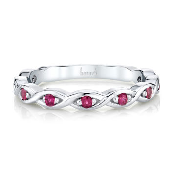14kt White Gold Twisted Natural Ruby Stackable Band