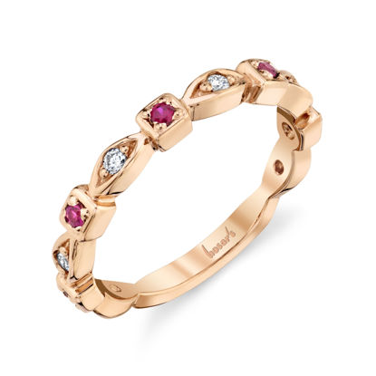 14kt Rose Gold Natural Ruby and Diamond Stackable Band