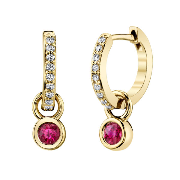 14kt Yellow Gold Versatile Diamond and Natural Ruby Dangle Hoop Earrings