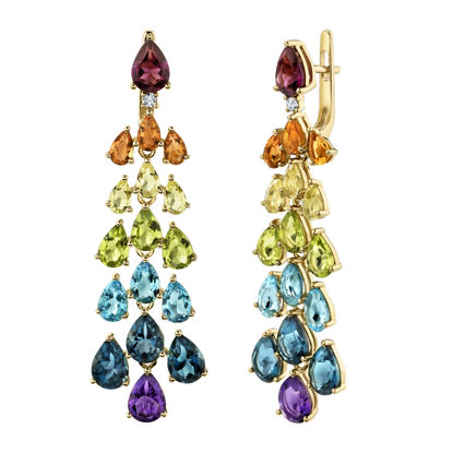 14kt Yellow Gold Cascading Natural Multi-Color Gemstone Dangle Earrings