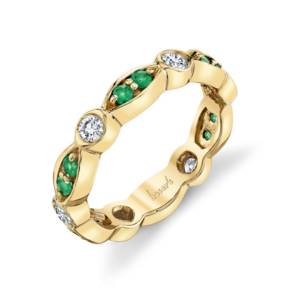 14kt Yellow Gold Natural Emerald and Diamond Scalloped Stackable Ring