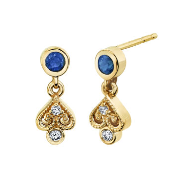 14kt Yellow Gold Natural Sapphire and Diamond Venetian Inspired Earrings
