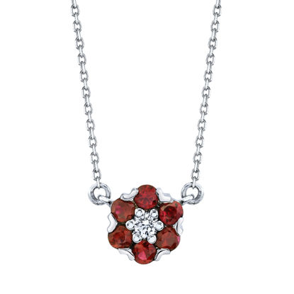 14kt White Gold Floral Inspired Natural Ruby and Diamond Necklace