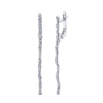 14kt White Gold Rippling Diamond Drop Earrings