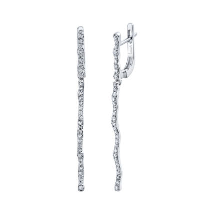14kt White Gold Rippling Diamond Drop Earrings