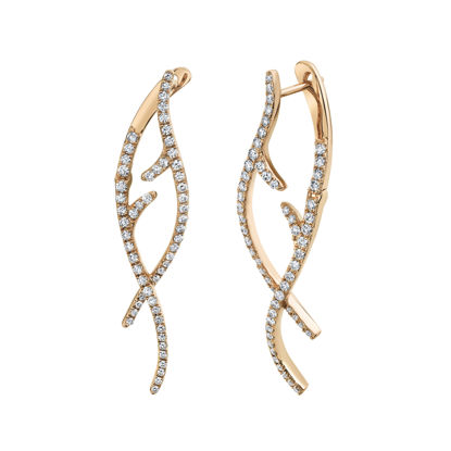 14kt Rose Gold Weaving Diamond Vine Earrings