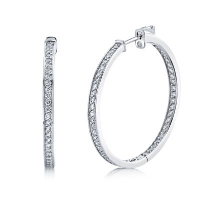 14kt White Gold Inside Out Diamond Hoop
