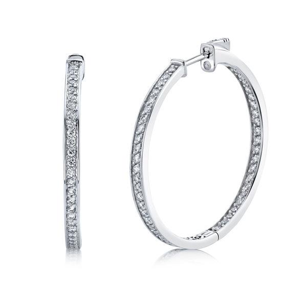 14kt White Gold Inside Out Diamond Hoop