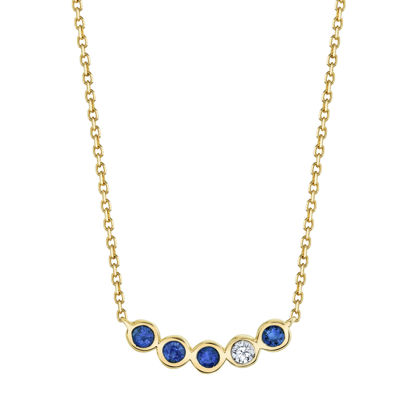 14kt Yellow Gold Natural Sapphire and Diamond Bezel Bar Necklace
