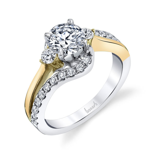 14kt White and Yellow Gold Bypass Three Stone Engagement Ring