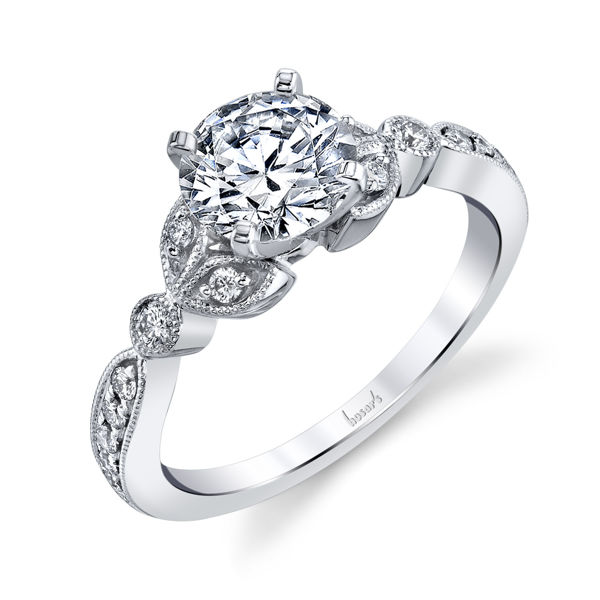 14kt White Gold Nature Inspired Engagement Ring