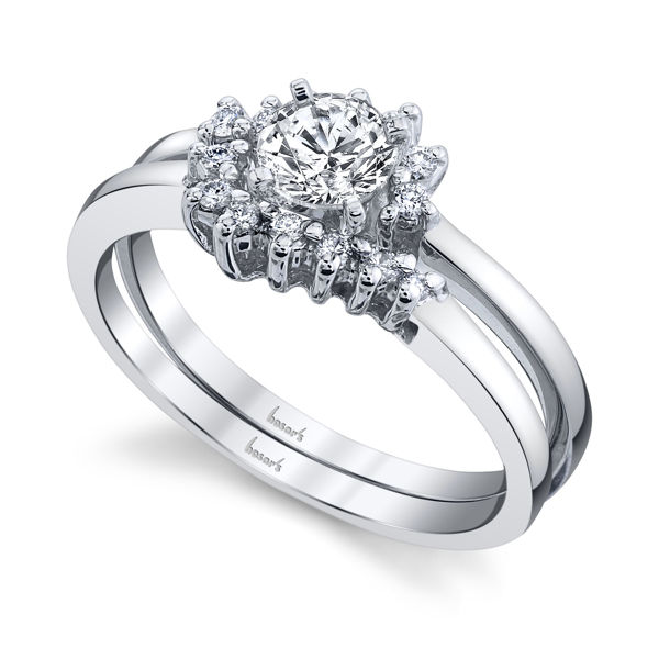 14kt White Gold Whirling Engagement Ring