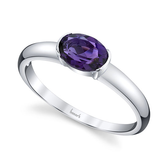 14kt White Gold Oval Amethyst Solitaire Ring