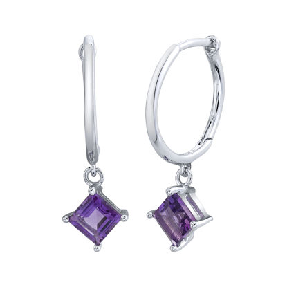 14kt White Gold Kite Set Amethyst Hoop Earrings