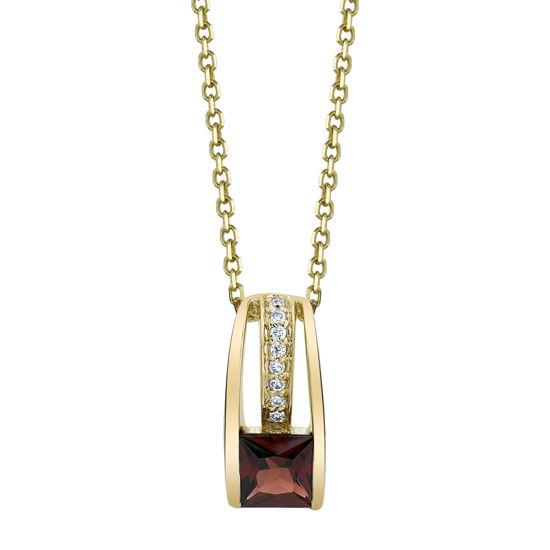 14kt Yellow Gold Contemporary Garnet and Diamond Pendant