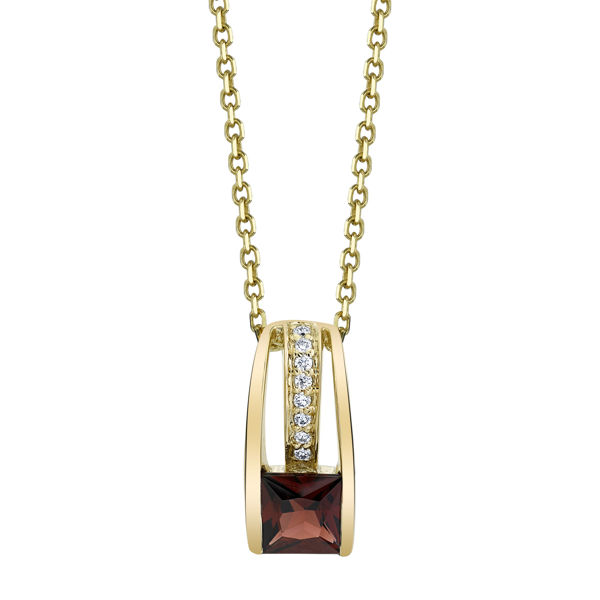 14kt Yellow Gold Contemporary Garnet and Diamond Pendant