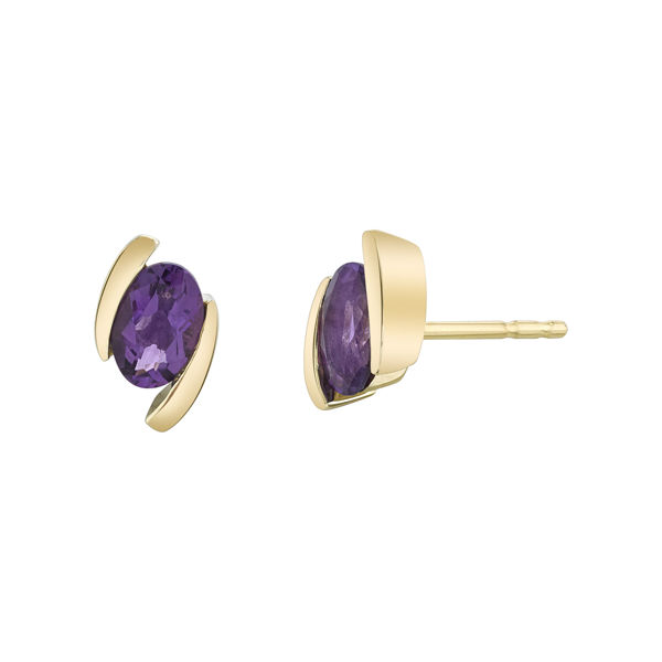 14kt Yellow Gold Simple Bypass Style Amethyst Earrings